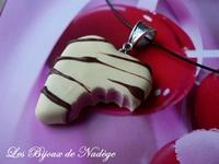 pendentif coeur en chocolat blanc