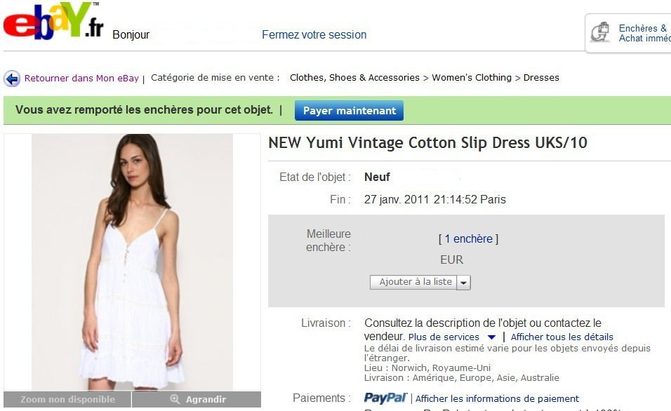 Enchère Bid eBay Yumi Slip Dress