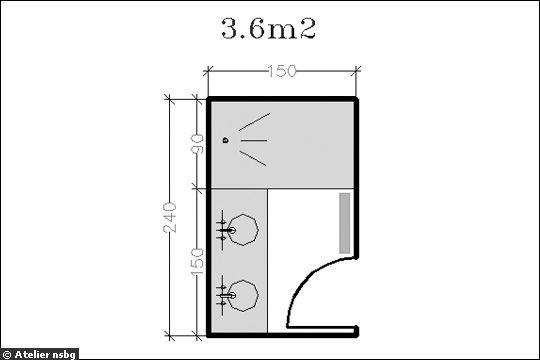 16 plans de salle de bains de moins de 5 m2 - Plan petite salle de bain ...