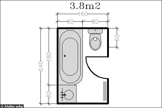 16 plans de salle de bains de moins de 5 m2 for Salle de bain 3m2 plan