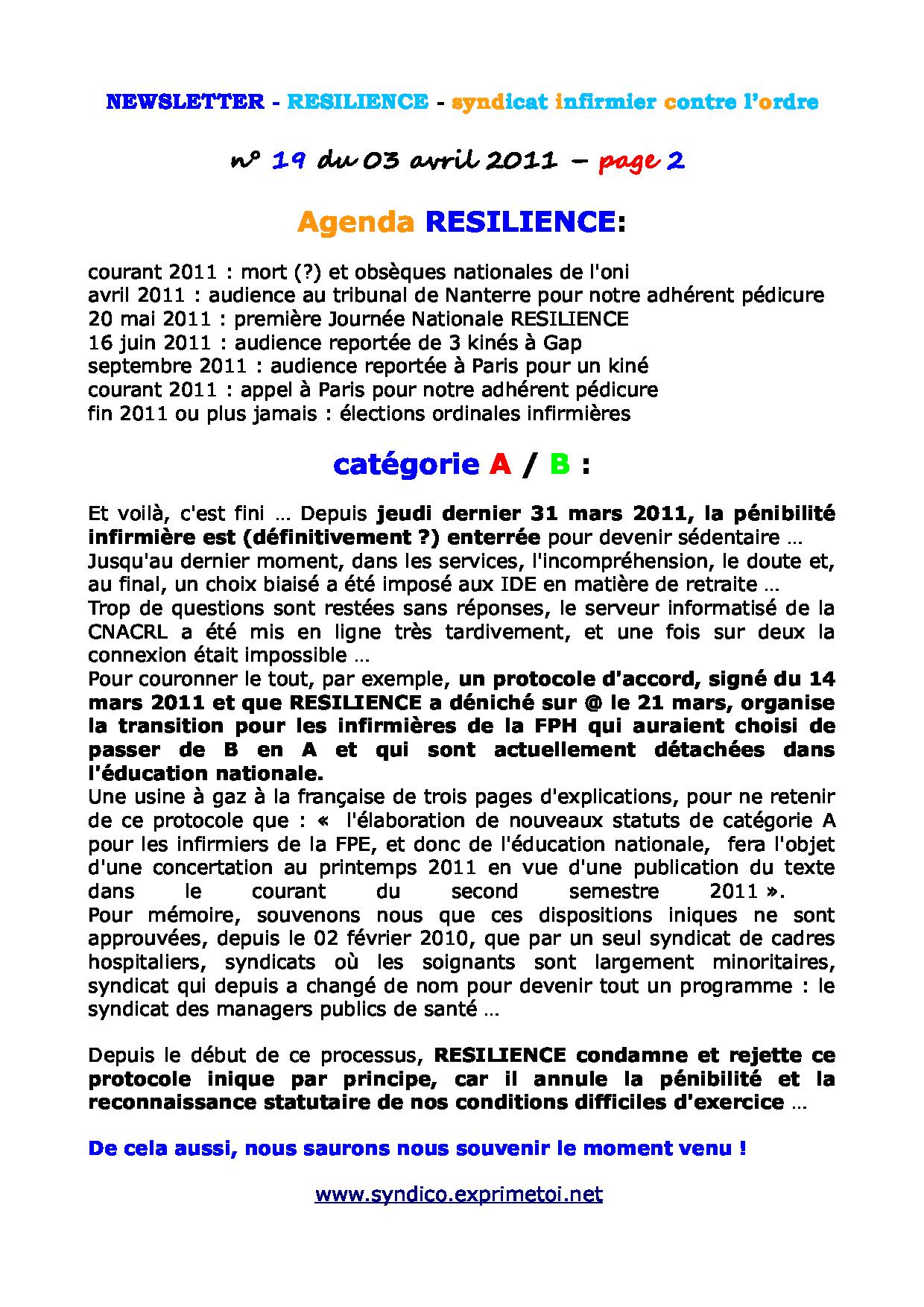Newsletter RESILIENCE n°19 du 03 avril 2011 1104030214161139707930310