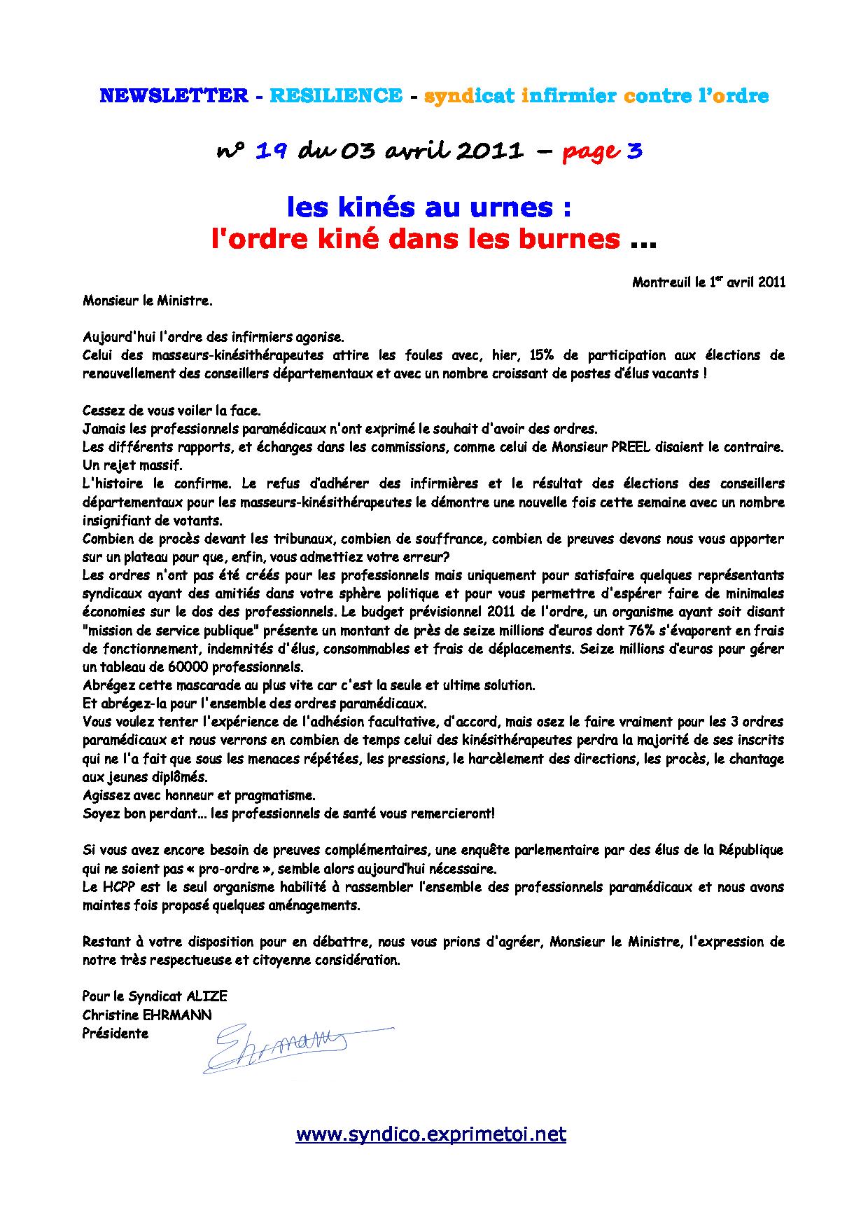 Newsletter RESILIENCE n°19 du 03 avril 2011 1104030214161139707930311