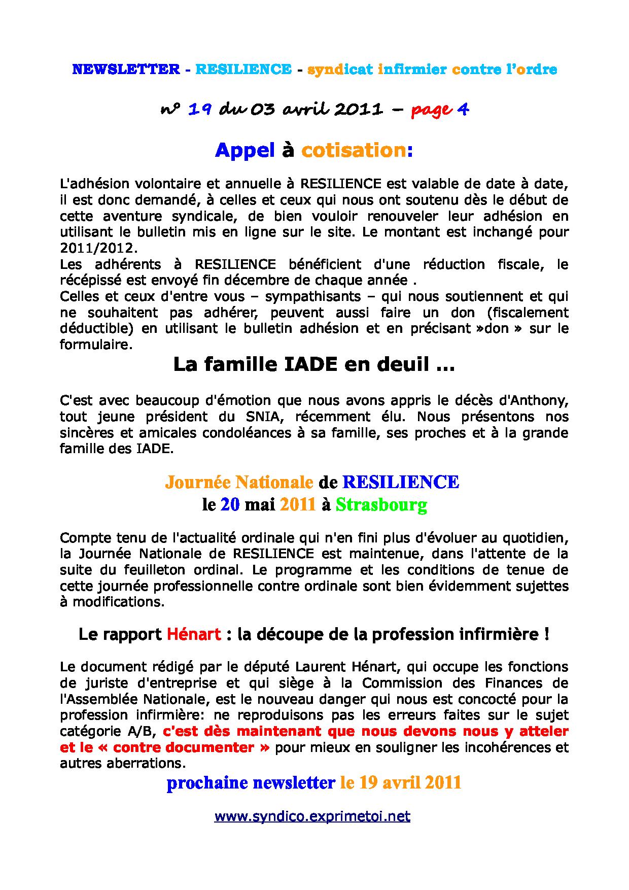 Newsletter RESILIENCE n°19 du 03 avril 2011 1104030214171139707930312