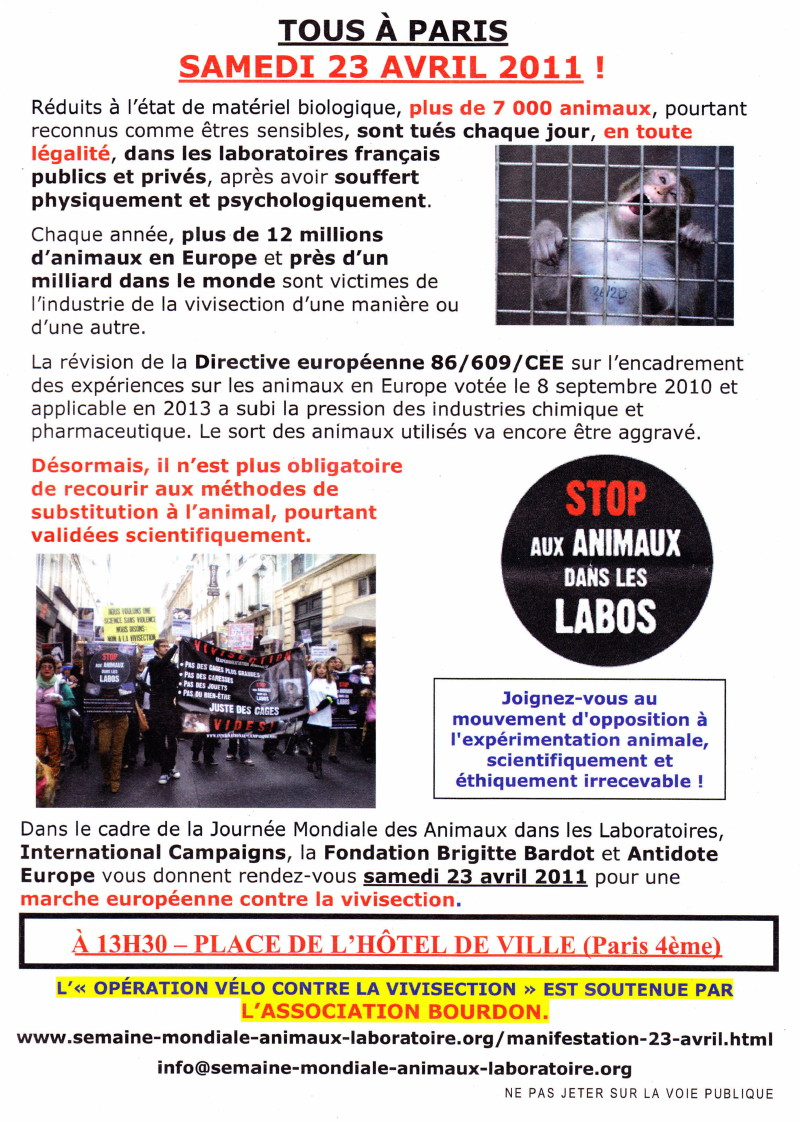 """""""Marche européenne contre la vivisection"""" 23/04/2011 Paris 1104230727141239648042608"""