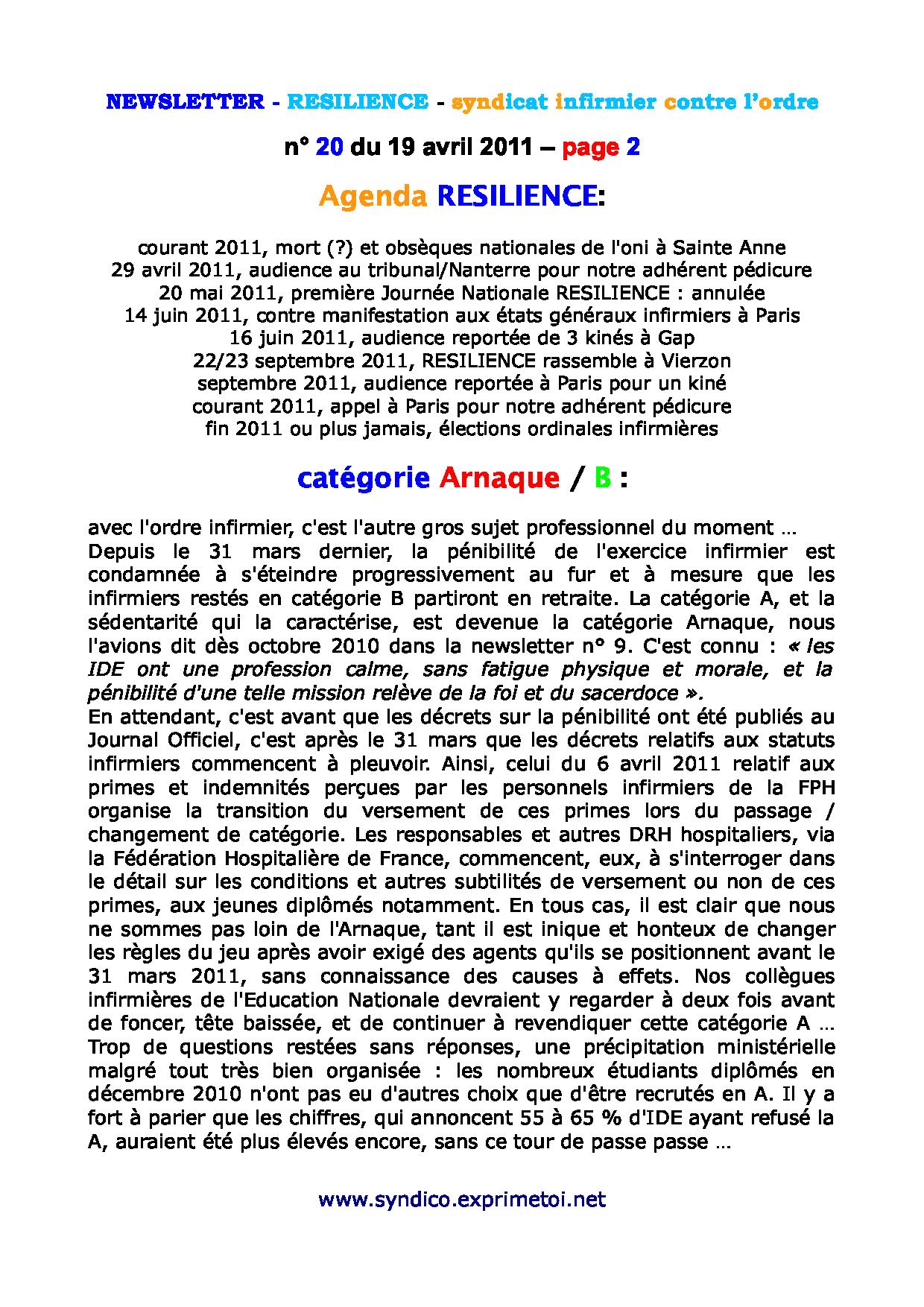 newsletter n° 20 du 19 avril 2011 1104280158041139708069286