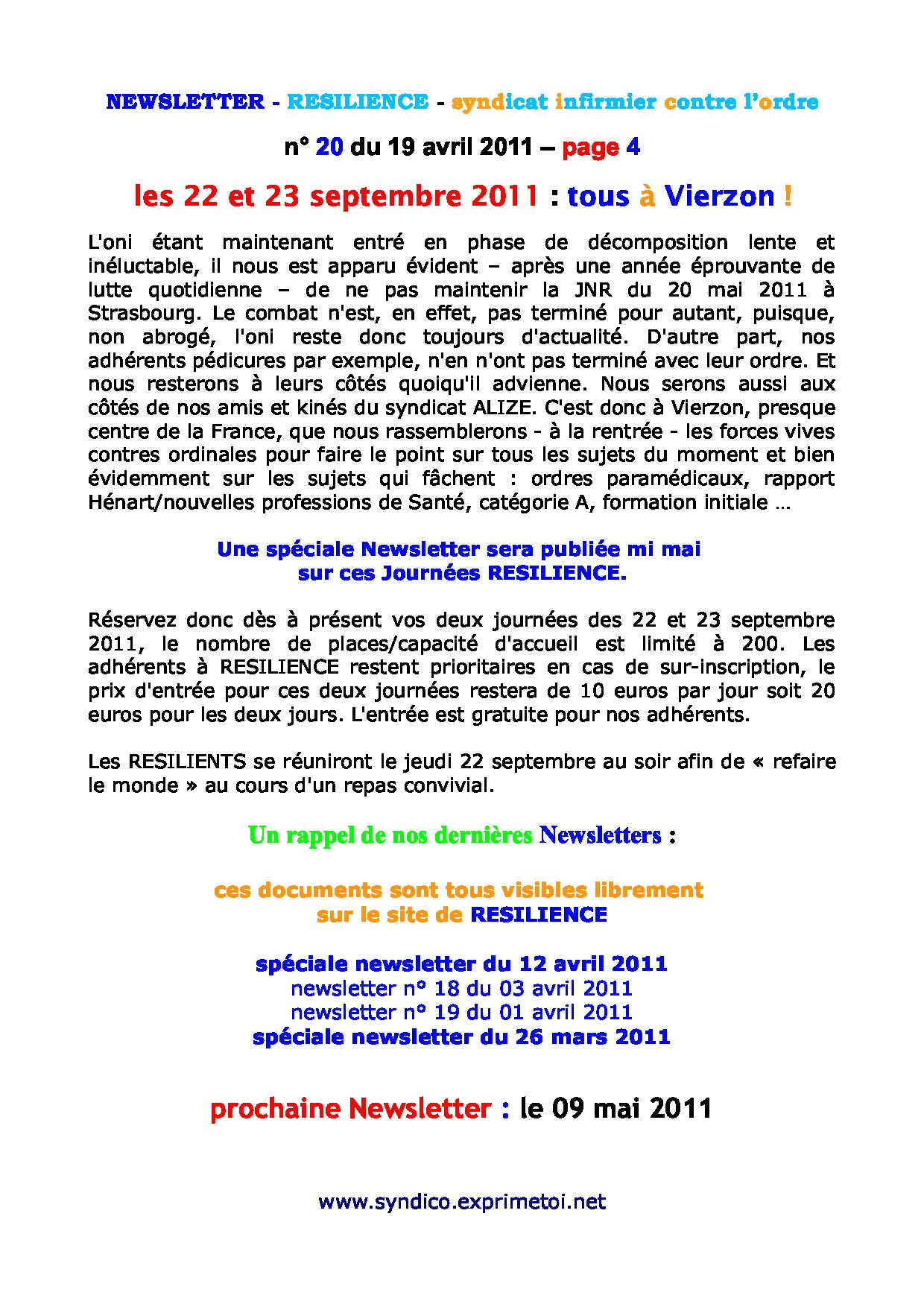 newsletter n° 20 du 19 avril 2011 1104280158051139708069288