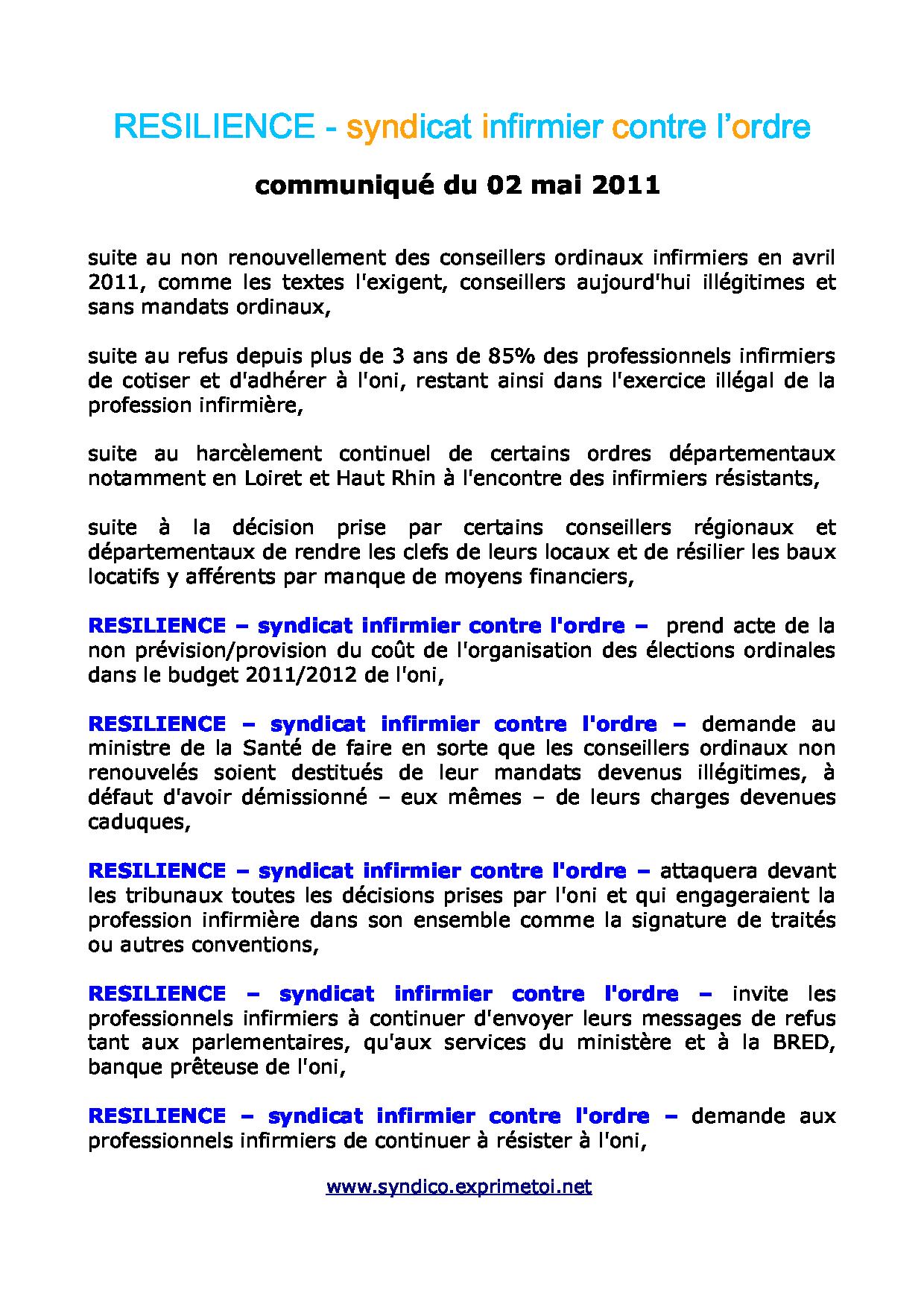Communiqué RESILIENCE du 02 mai 2011 1105020803221139708093666