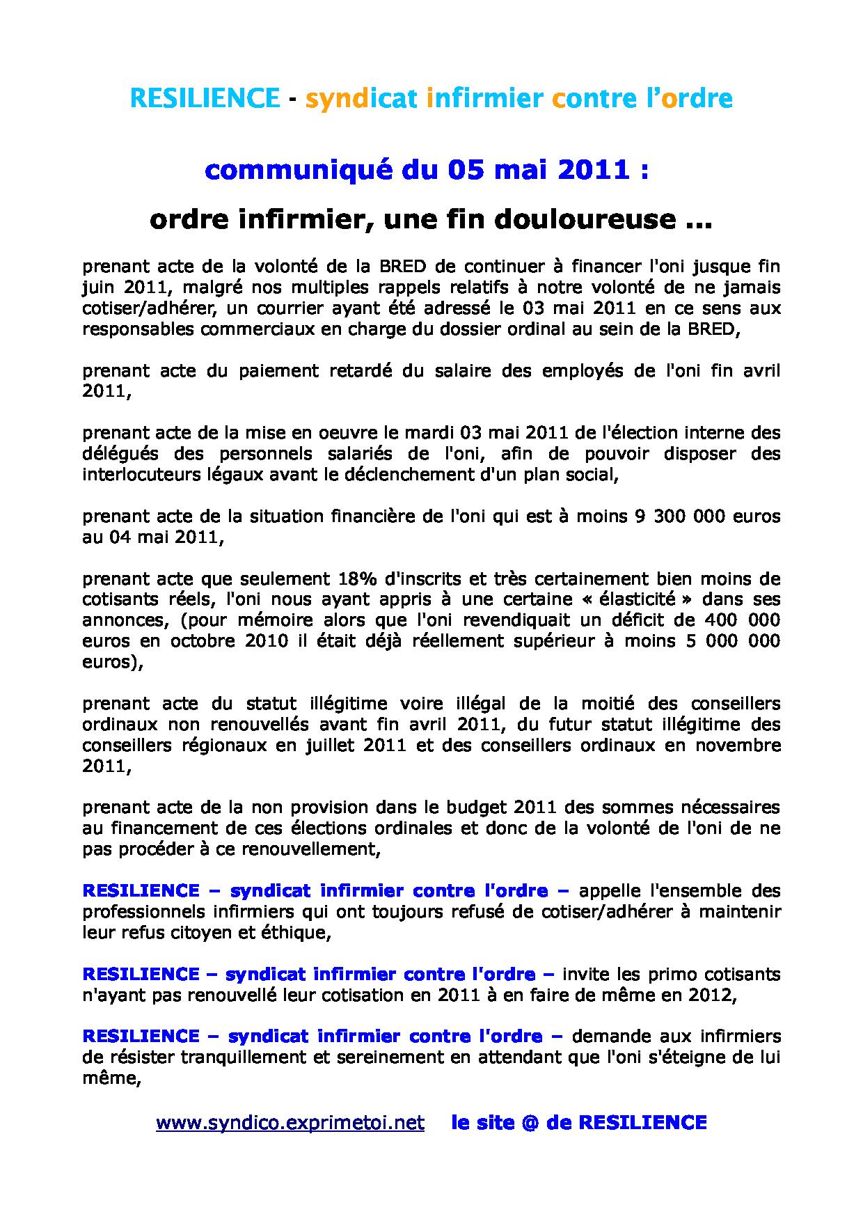 Communiqué RESILIENCE du 05 mai 2011 1105051159441139708107167