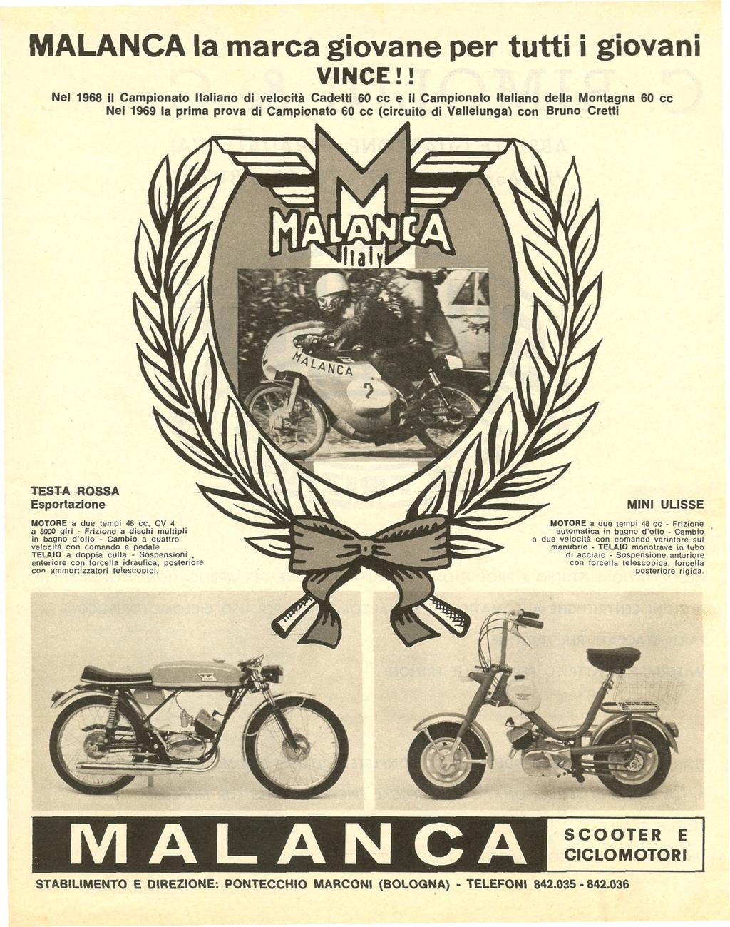 Catalogues - Malanca testarossa export 1969