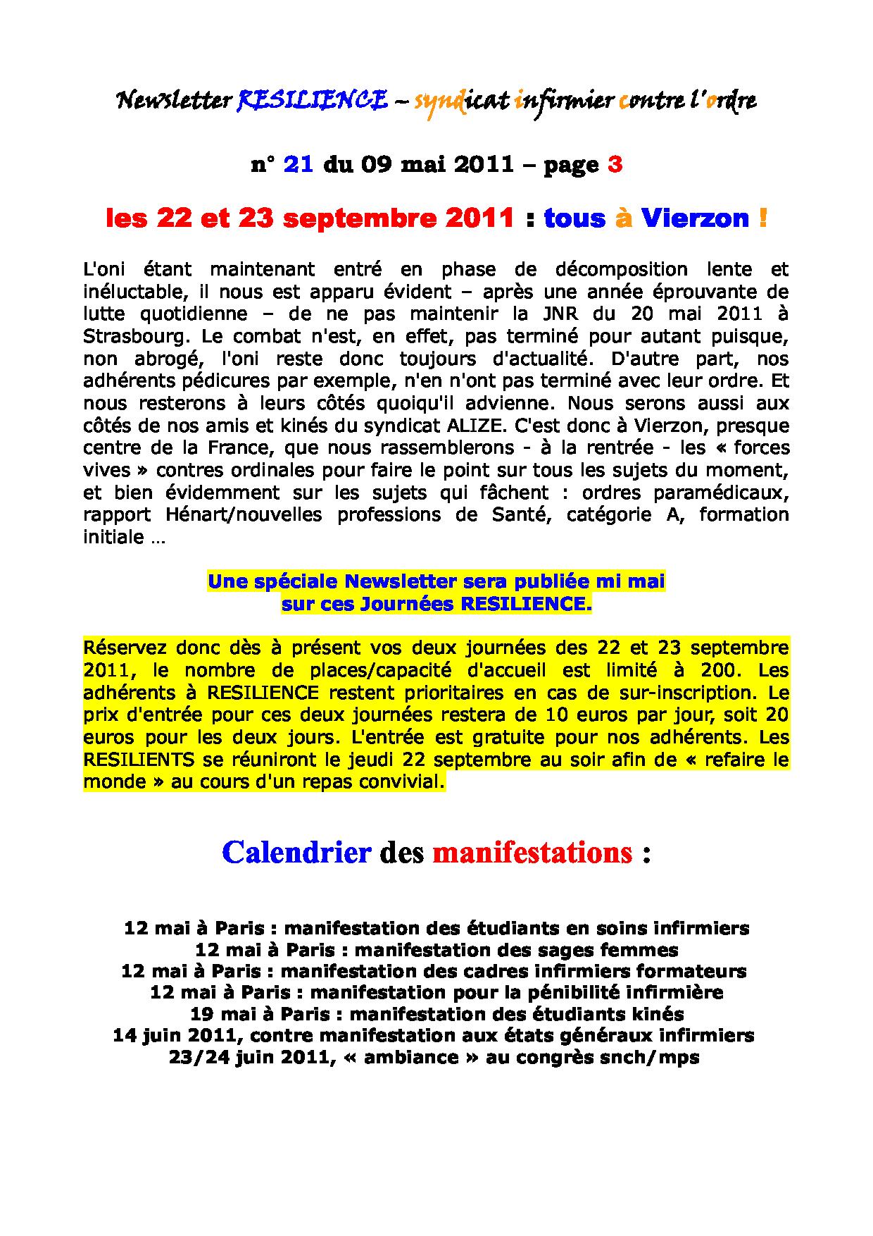 Newsletter RESILIENCE n° 21 du 09 mai 2011 1105130112361139708149919