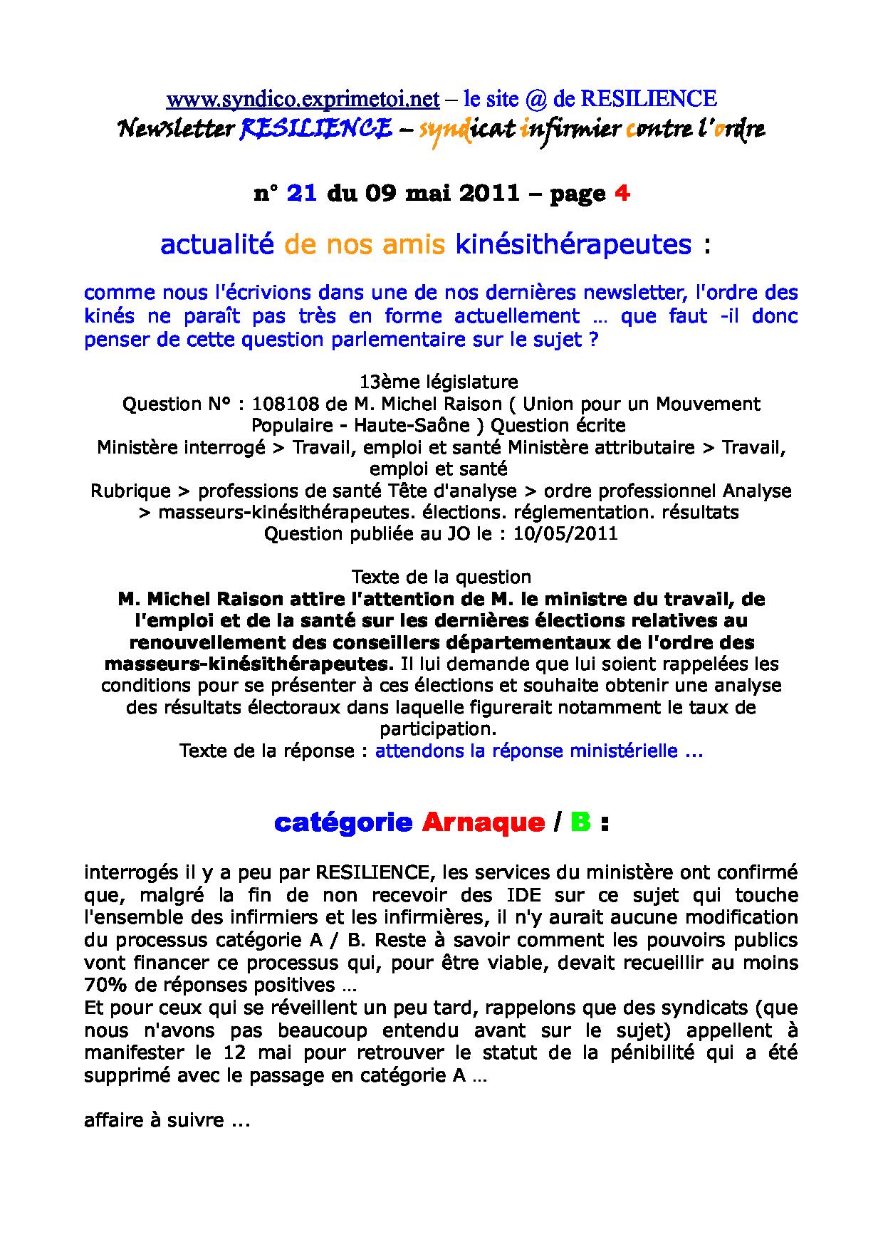 Newsletter RESILIENCE n° 21 du 09 mai 2011 1105130112361139708149920