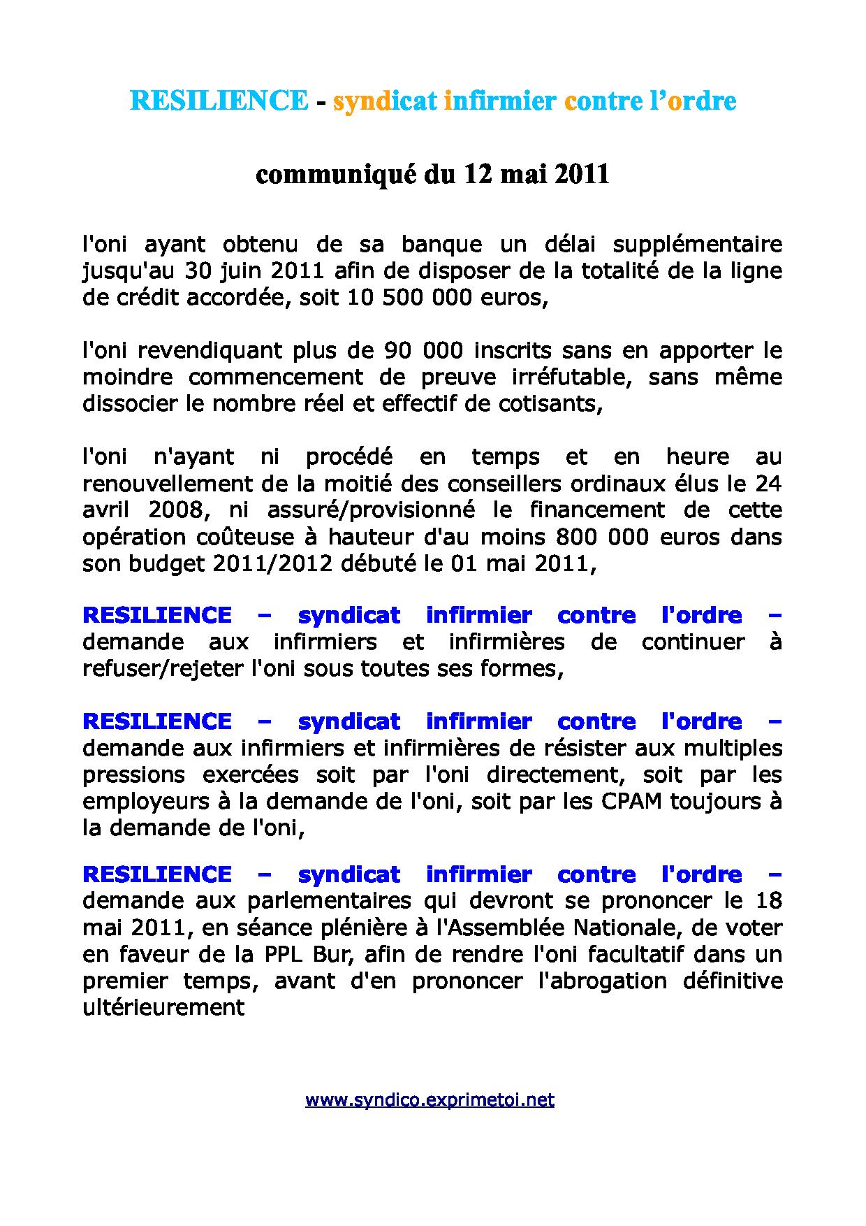 Communiqué RESILIENCE du 12 mai 2011 1105131248031139708148665