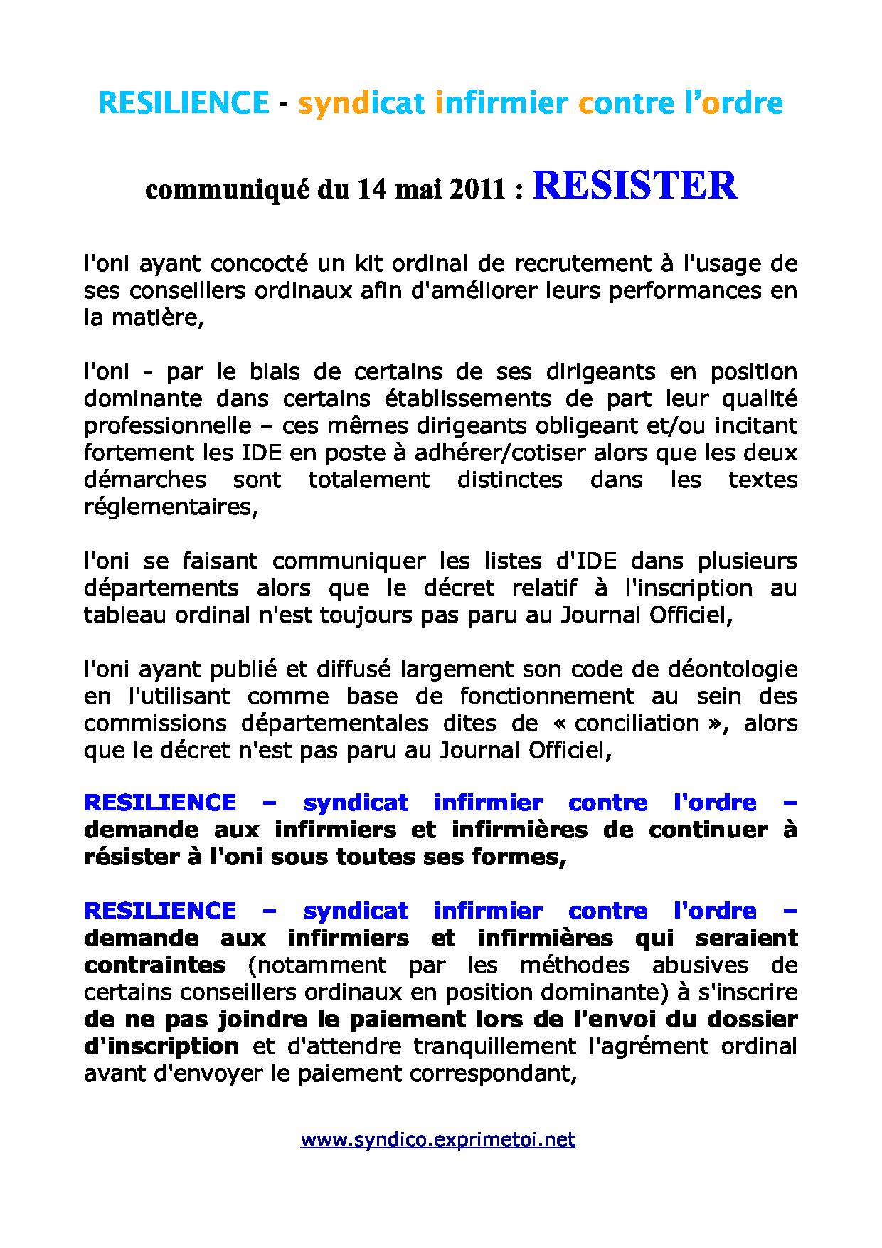 Communiqué RESILIENCE du 14 mai 2011 1105141047291139708154145