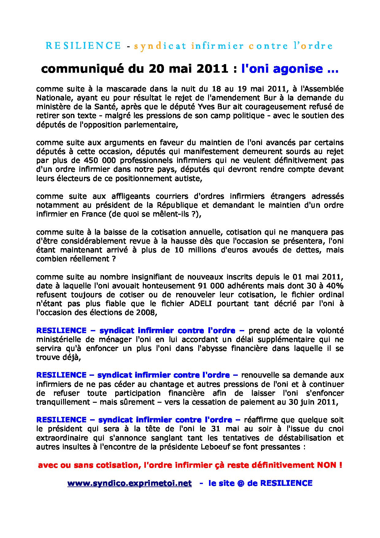Communiqué RESILIENCE du 20 mai 2011 1105201056191139708185388