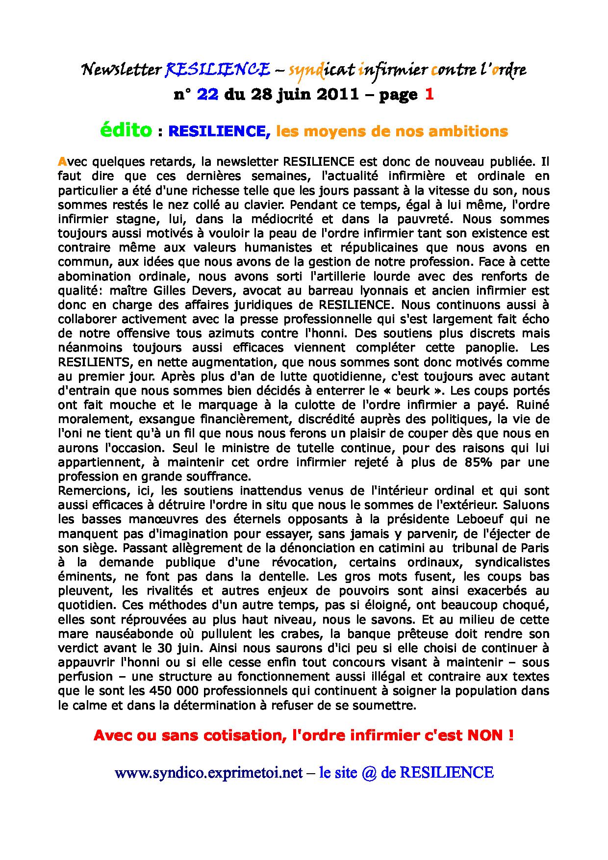 Newsletter RESILIENCE n° 22 du 28 juin 2011 1107050414311139708427952