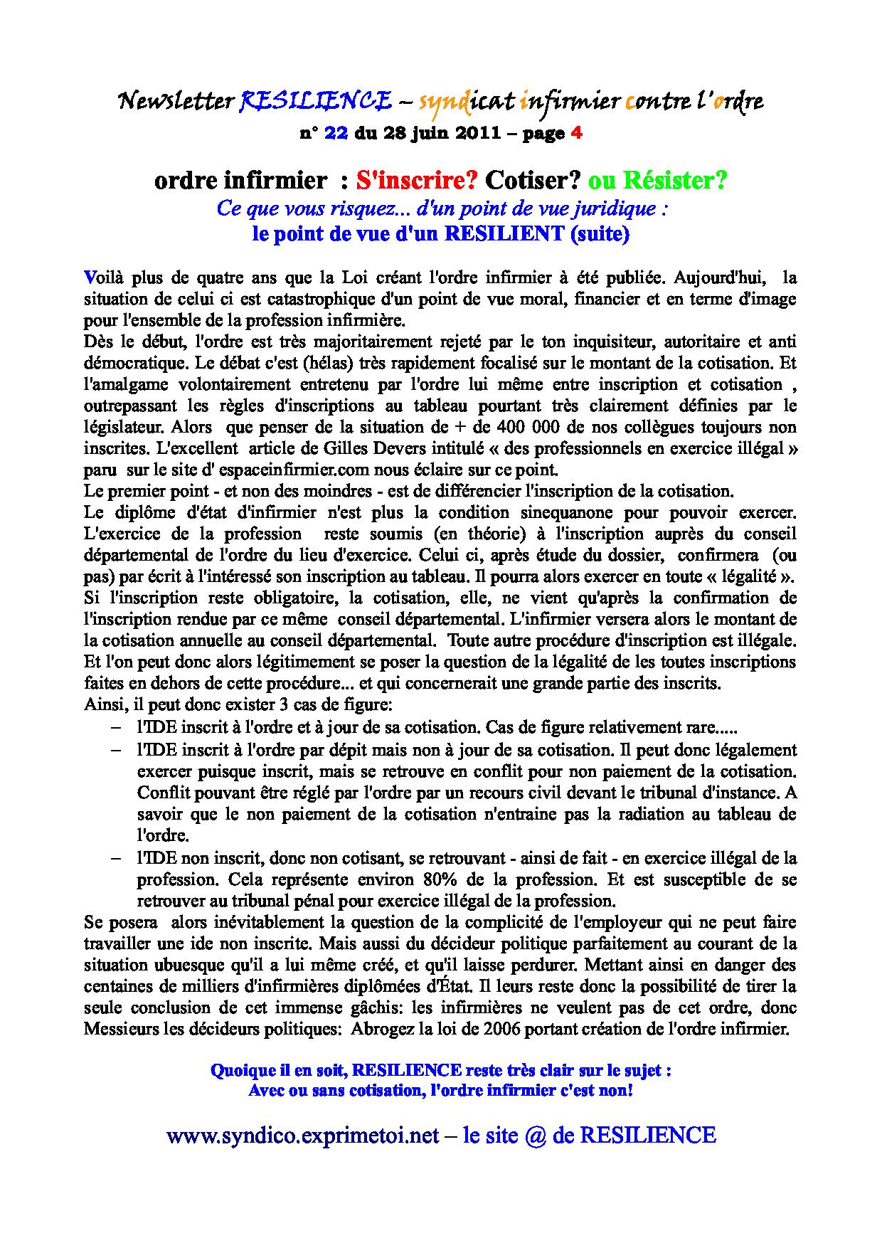 Newsletter RESILIENCE n° 22 du 28 juin 2011 1107050414311139708427953