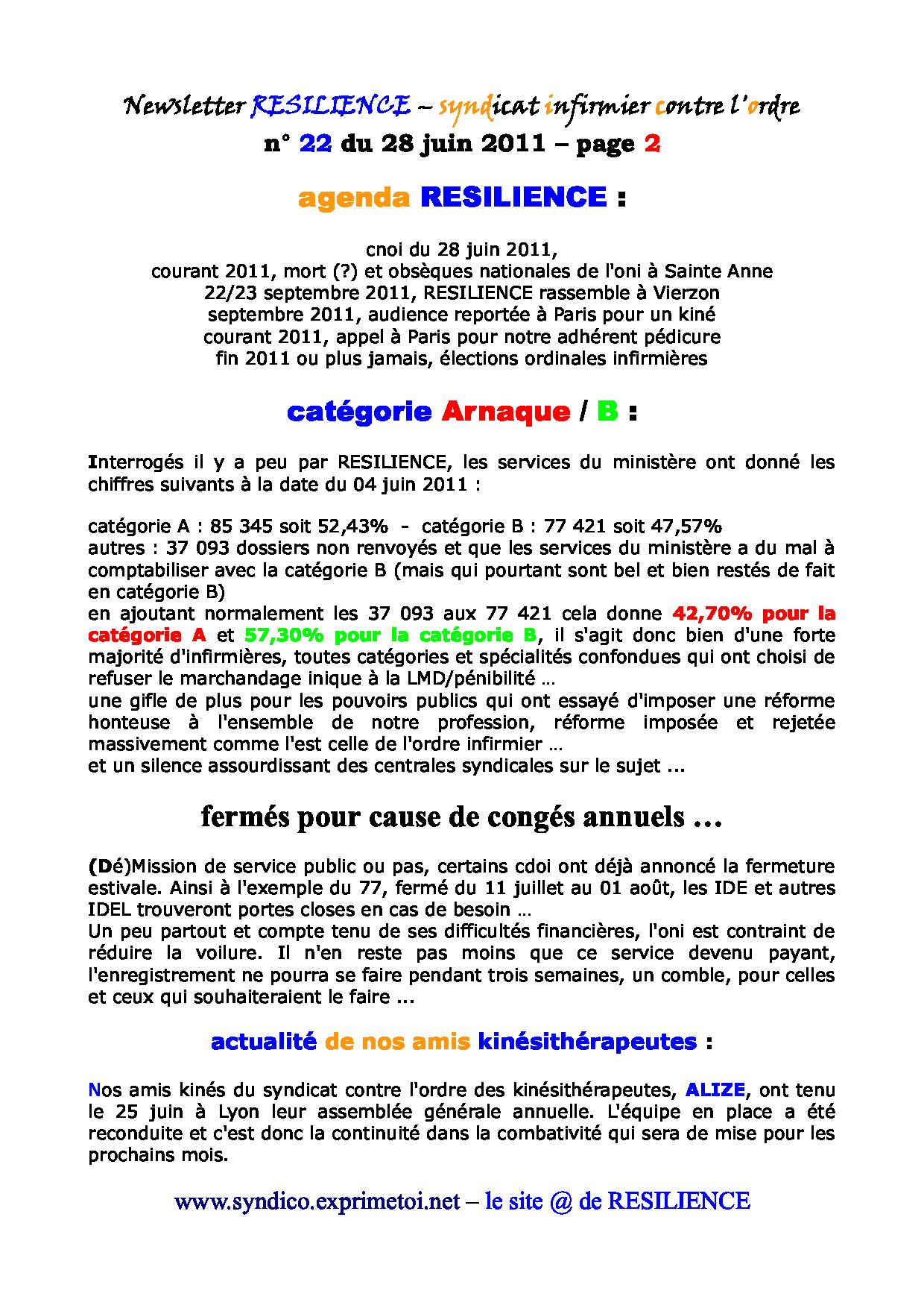 Newsletter RESILIENCE n° 22 du 28 juin 2011 1107050414321139708427955