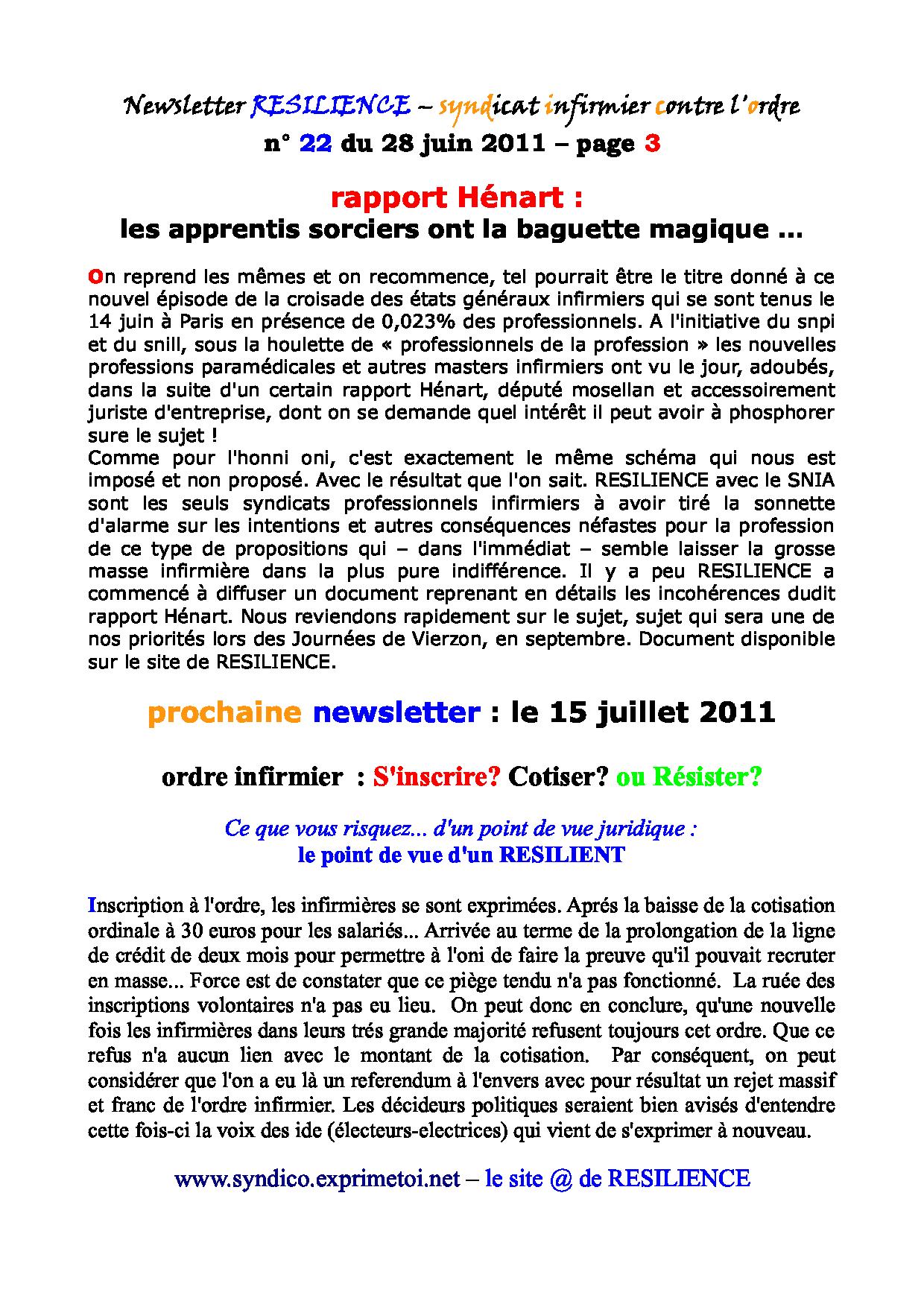 Newsletter RESILIENCE n° 22 du 28 juin 2011 1107050414321139708427956