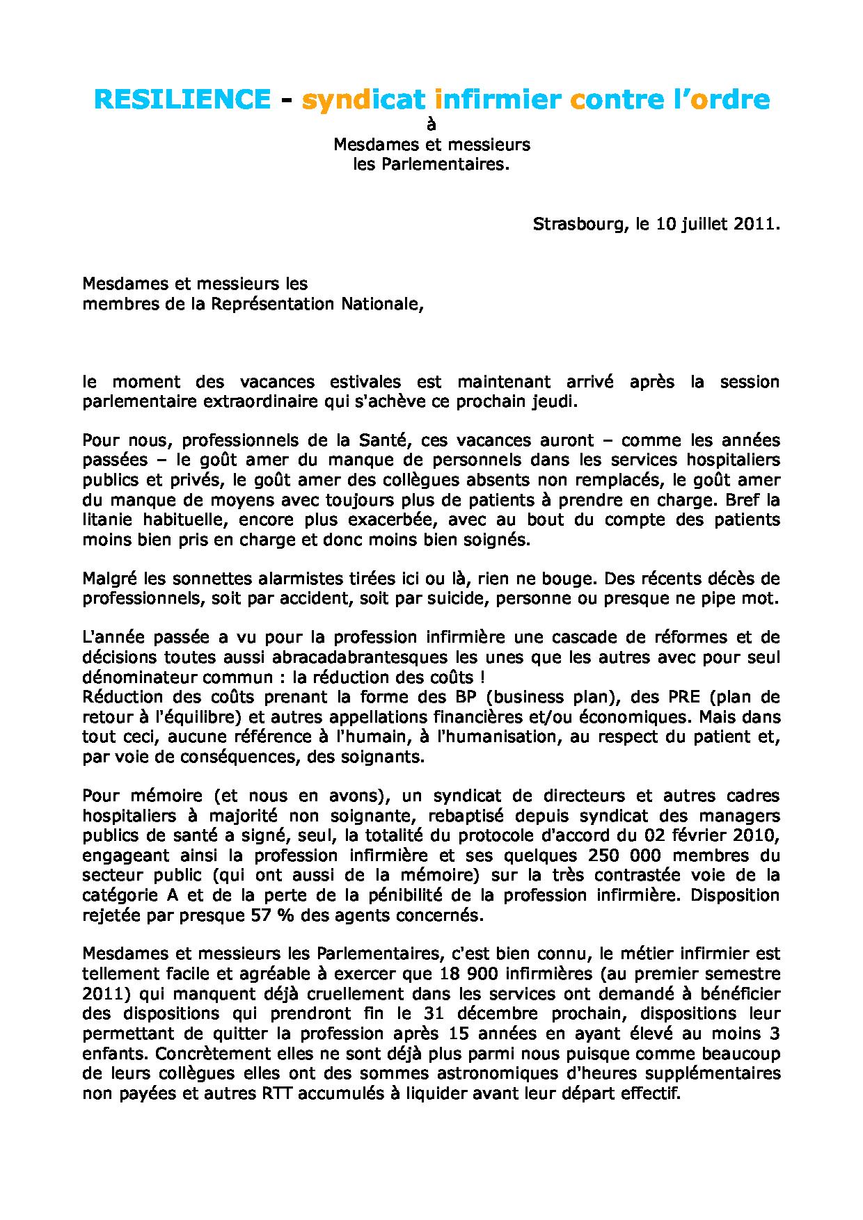 Lettre aux parlementaires du 10 juillet 2011 1107100327521139708450439