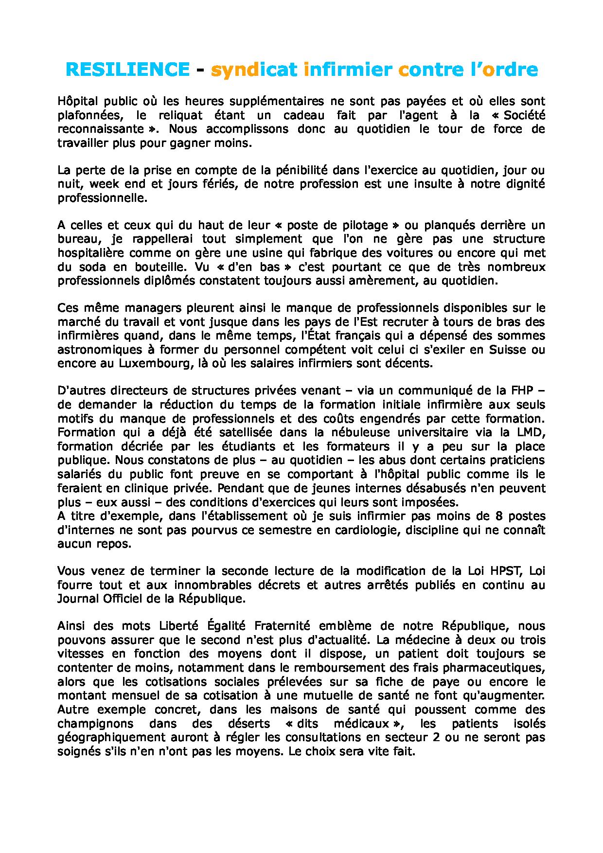 Lettre aux parlementaires du 10 juillet 2011 1107100327521139708450440