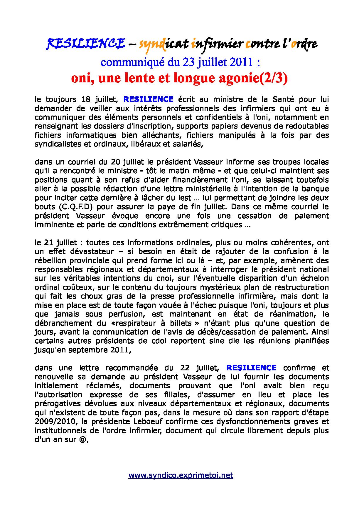 communiqué RESILIENCE du 23 juillet 2011 - ordre infirmier : une lente et longue agonie ... 1107230238211139708505152