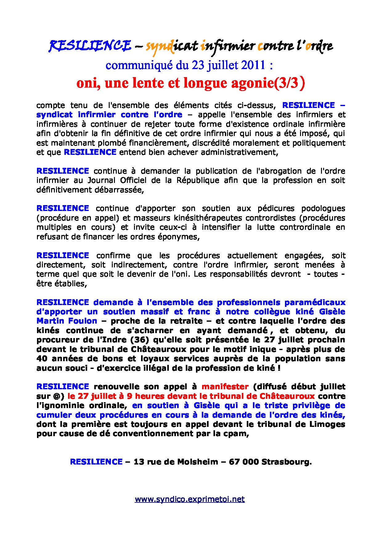 communiqué RESILIENCE du 23 juillet 2011 - ordre infirmier : une lente et longue agonie ... 1107230238211139708505153