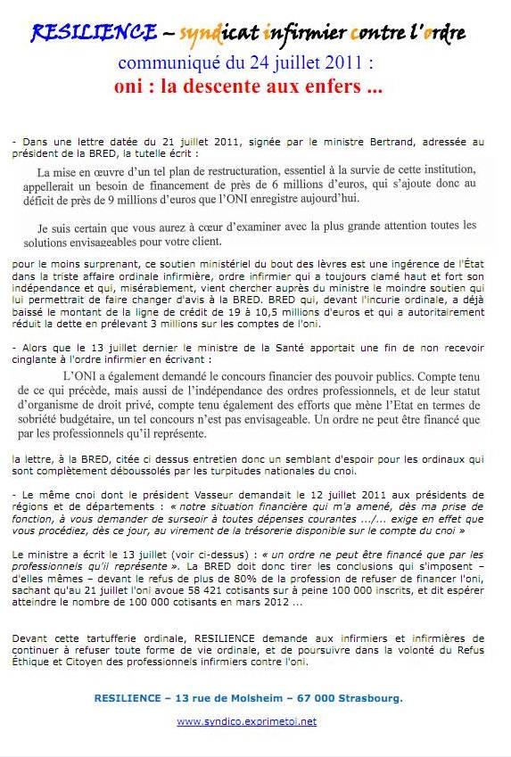 Communiqué RESILIENCE du 24 juillet 2011 1107250133161139708512832