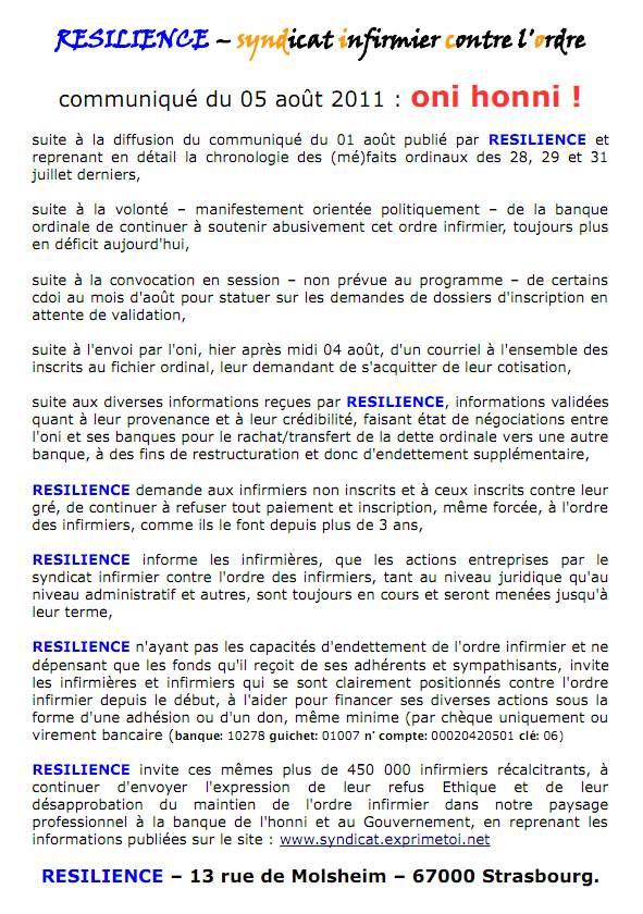 Communiqué RESILIENCE du 05 août 2011 1108050149221139708549245
