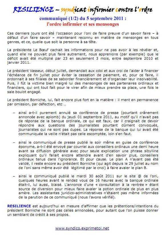 Communiqué RESILIENCE  du 05 septembre 2011   l'ordre infirmier et ses mensonges 1109050148151139708695330