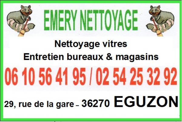 EGUZON - EMERY NETTOYAGE - Nettoyage vitres, entretien bureaux et magasins... 110928044009643128810243