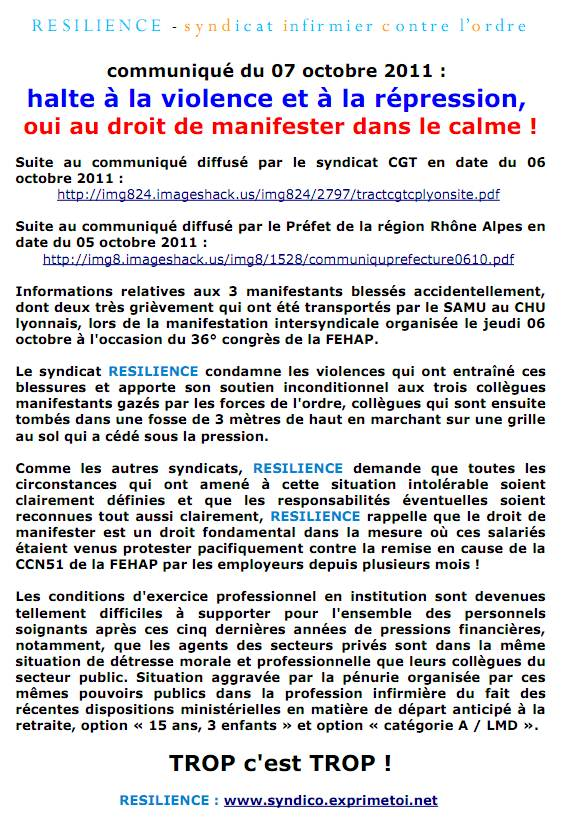 communiqué RESILIENCE du 07 octobre 2011 : halte à la violence et à la répression, 1110070352401139708861537