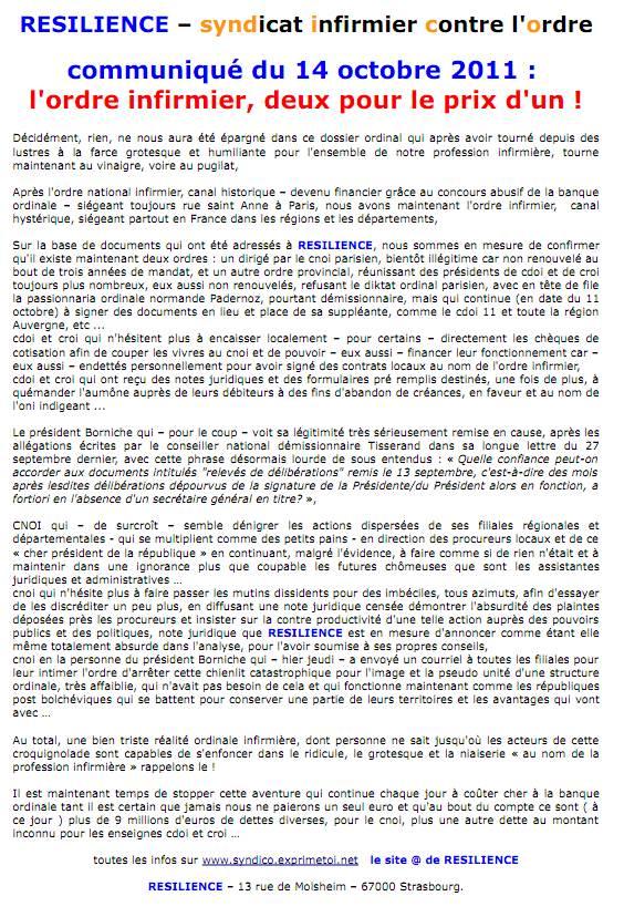 Communiqué RESILIENCE du 14 octobre 2011 l'ordre infirmier, deux pour le prix d'un ! 1110140204501139708898898