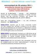 Communiqué RESILIENCE  du 20 octobre 2011 : procédures devant les tribunaux, contre l'ordre infirmier, concernant des infirmières Mini_1110200350081139708929682