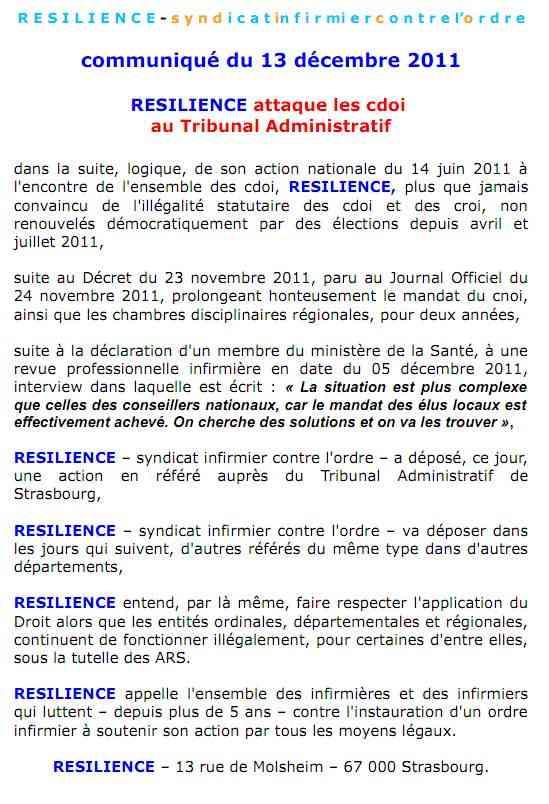 communiqué du 13 décembre 2011 : RESILIENCE attaque les cdoi au Tribunal Administratif  1112131131081139709173158