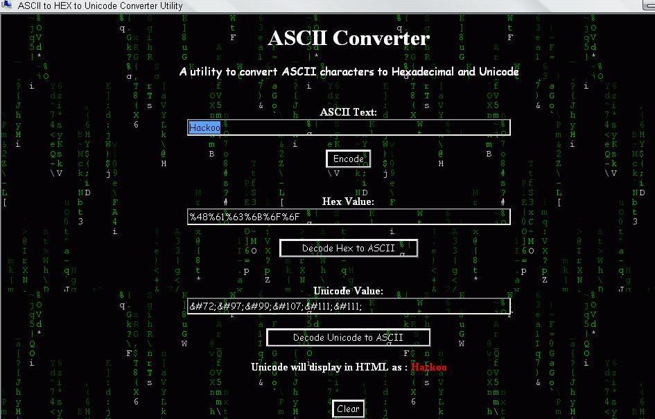Hexadecimal Ascii Converter