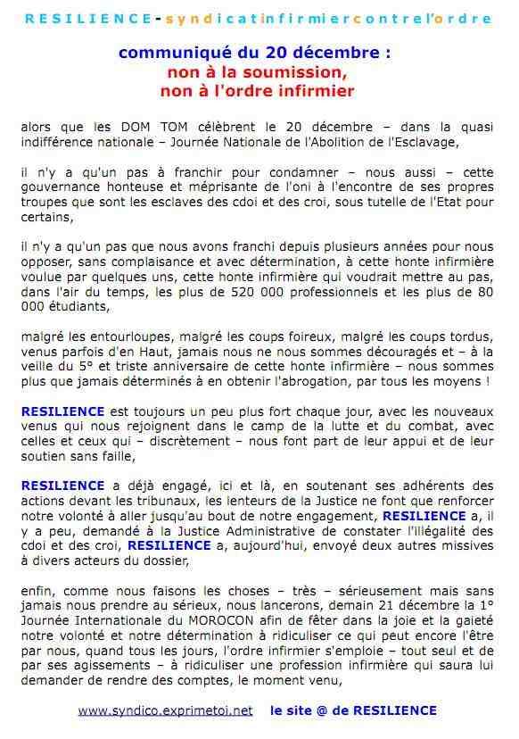 Communiqué RESILIENCE du 20 décembre 2011 : non à la soumission, non à l'ordre infirmier ... 1112211251071139709203401