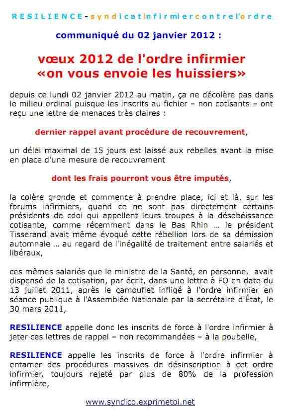 """Communiqué RESILIENCE du 02 janvier 2012 : les voeux 2012 de l'ordre infirmier : """"on vous envoie les huissiers"""" ... 1201020751301139709249337"""