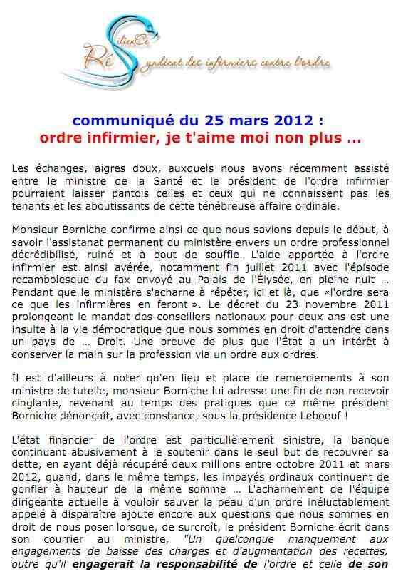 ordre infirmier : je t'aime, moi non plus  : communiqué RESILIENCE du 25 mars 2012... 1203250750171139709629370