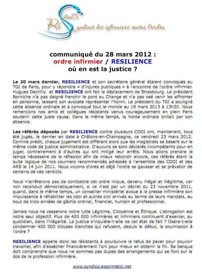 Communiqué RESILIENCE du 28 mars 2012 - ordre infirmier / RESILIENCE - où en est la justice  ? 1203270939261139709638603