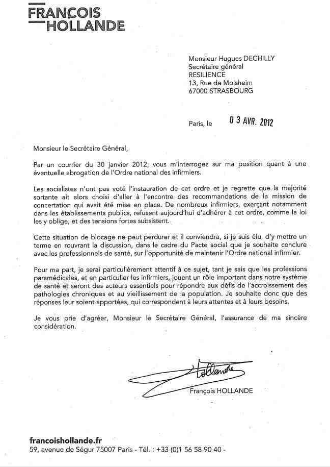 la nouvelle du jour ! courrier de M Hollande à RESILIENCE 1204040339011139709672397