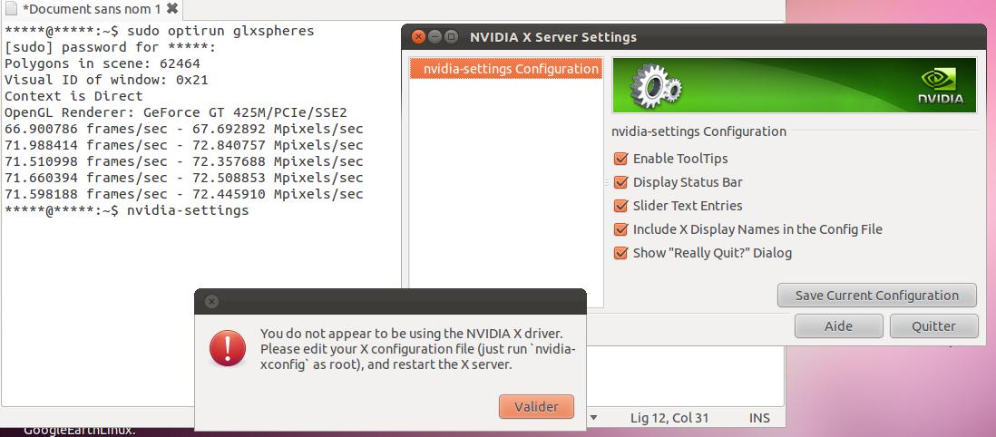 pb nvdia-settings ou nvidia-xconfig ou xorg.conf