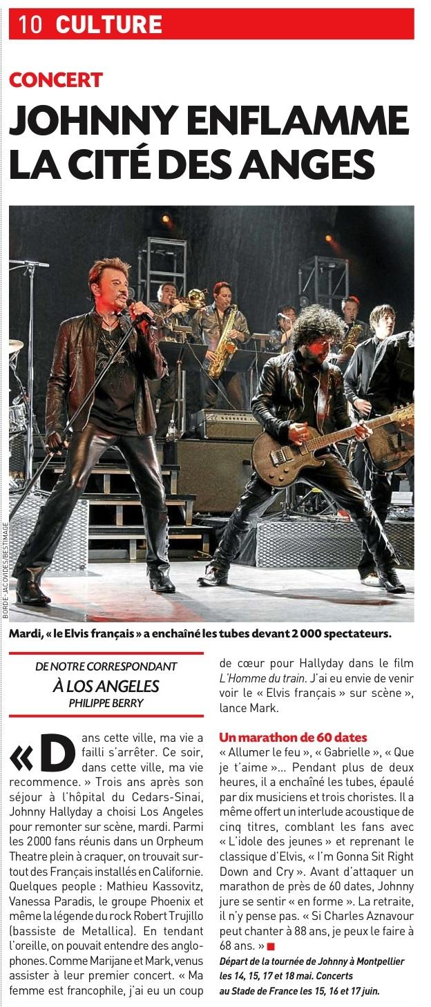 "Set list ""TOUR 2012"" JOHNNY HALLYDAY 24/04/2012 Orpheum Theatre (Los Angeles) 1204261020161423619769218"