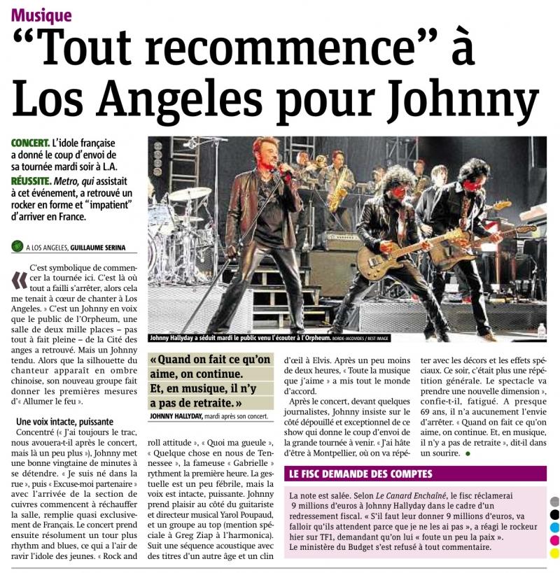 "Set list ""TOUR 2012"" JOHNNY HALLYDAY 24/04/2012 Orpheum Theatre (Los Angeles) 1204261020591423619769221"