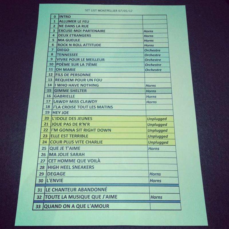 "Set list ""TOUR 2012"" JOHNNY HALLYDAY 24/04/2012 Orpheum Theatre (Los Angeles) 1205080451181423619823693"