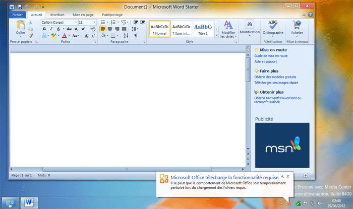 microsoft word starter 2010 démarrer en un clic